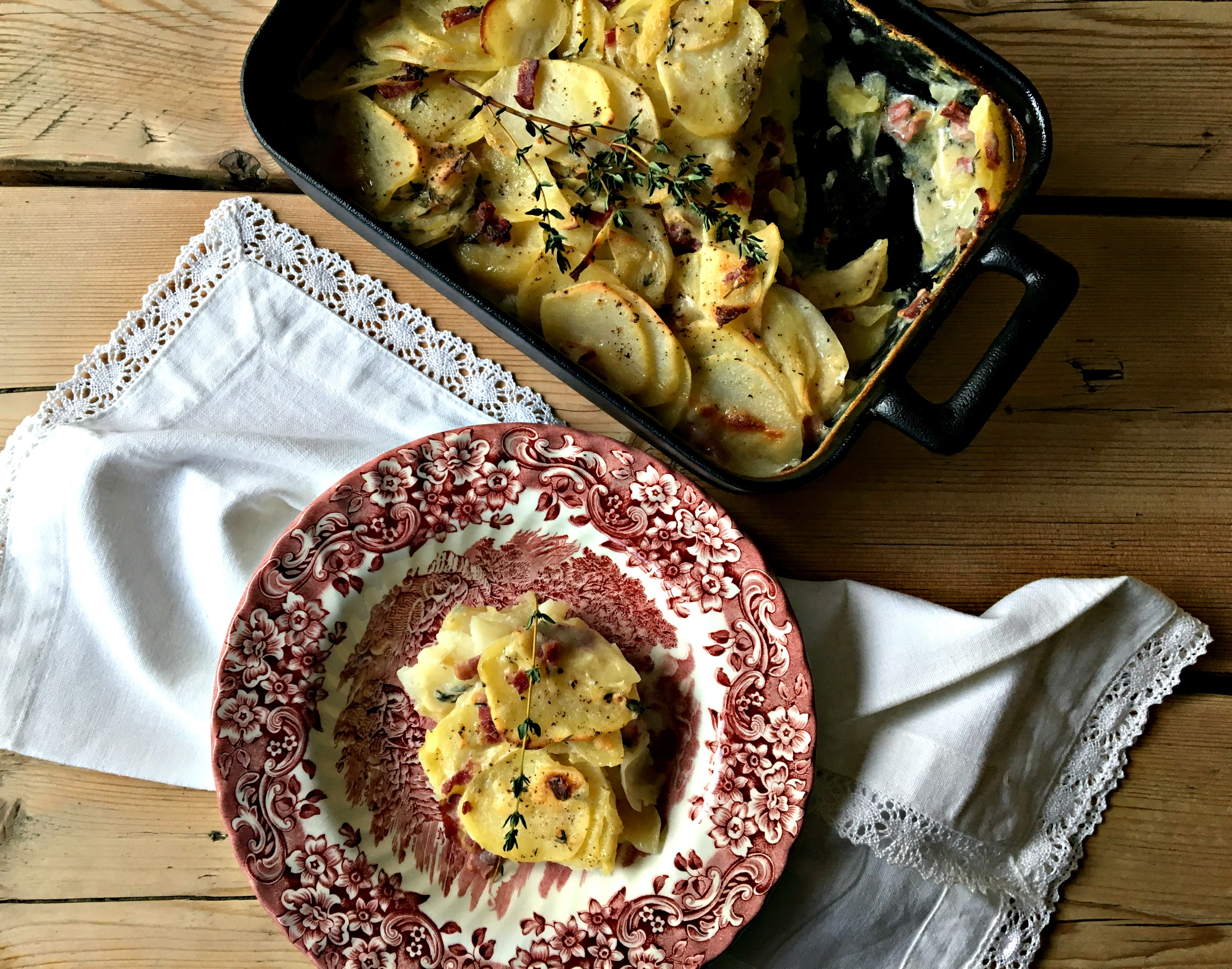 Potato gratin with smoked duck and thyme | The French Life